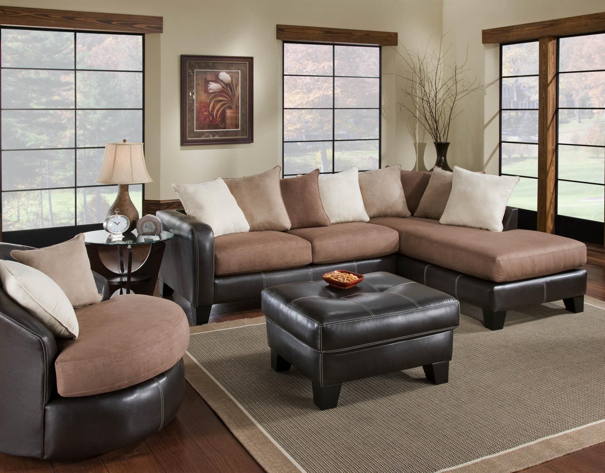 Albany 360 61 67 50118 San Marino Mocha Truffle Sectional Living Room Furniture SetsLiving SectionalSectional SofasLiving