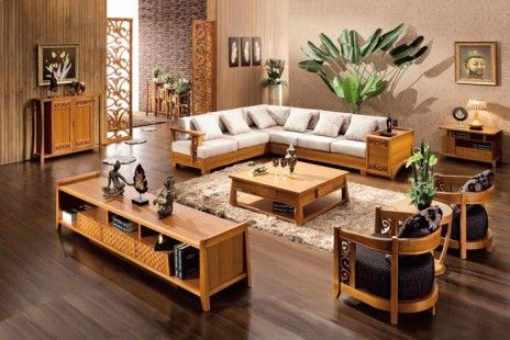 Chinese Wooden Sofa Furniture Set Designs For Small Living Room With