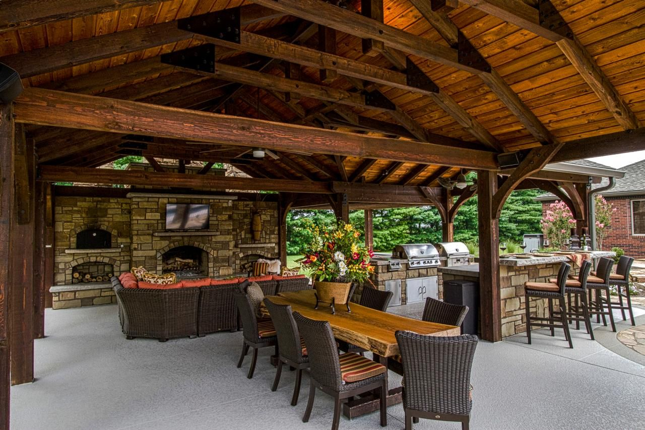 Outdoor Living Space Is Complete With Fireplace Kitchen And Flat Screen Tv Hgtv Outdoor Pavilion Outdoor Entertaining Spaces Outdoor Kitchen Decor