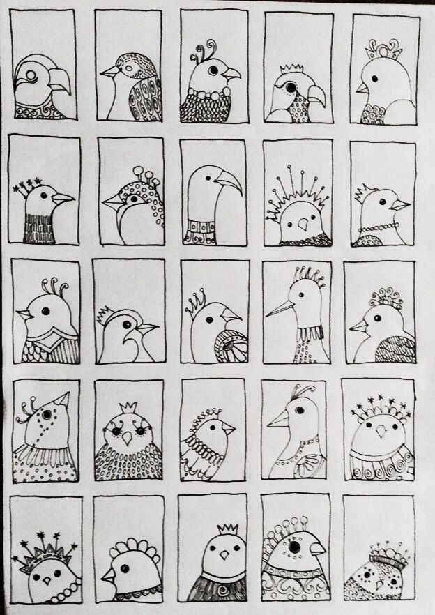 Bird 218 - fifth and final row of tiny doodle birds added .... By JG.