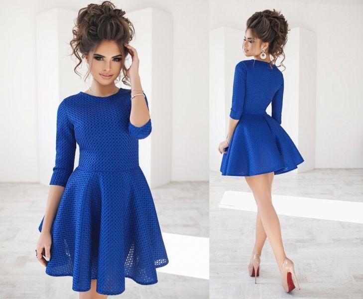 Платье короткое электрик