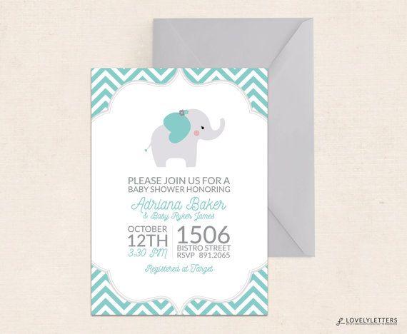 Elephant Baby Shower Invitation / Little by LovelyLettersDesign