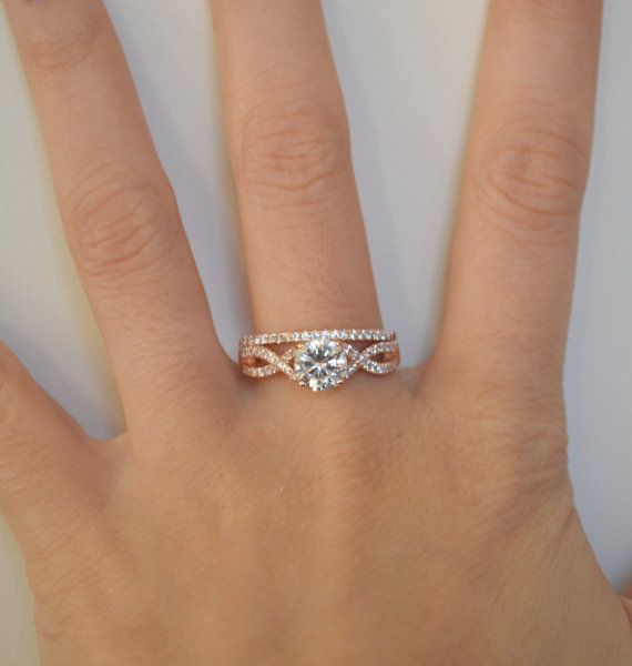 Twist Engagement Ring Setting Rose Gold Twisted Band