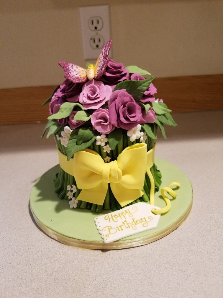 A flower bouquet cake for a lovely ladies birthday. | Just Caking ...