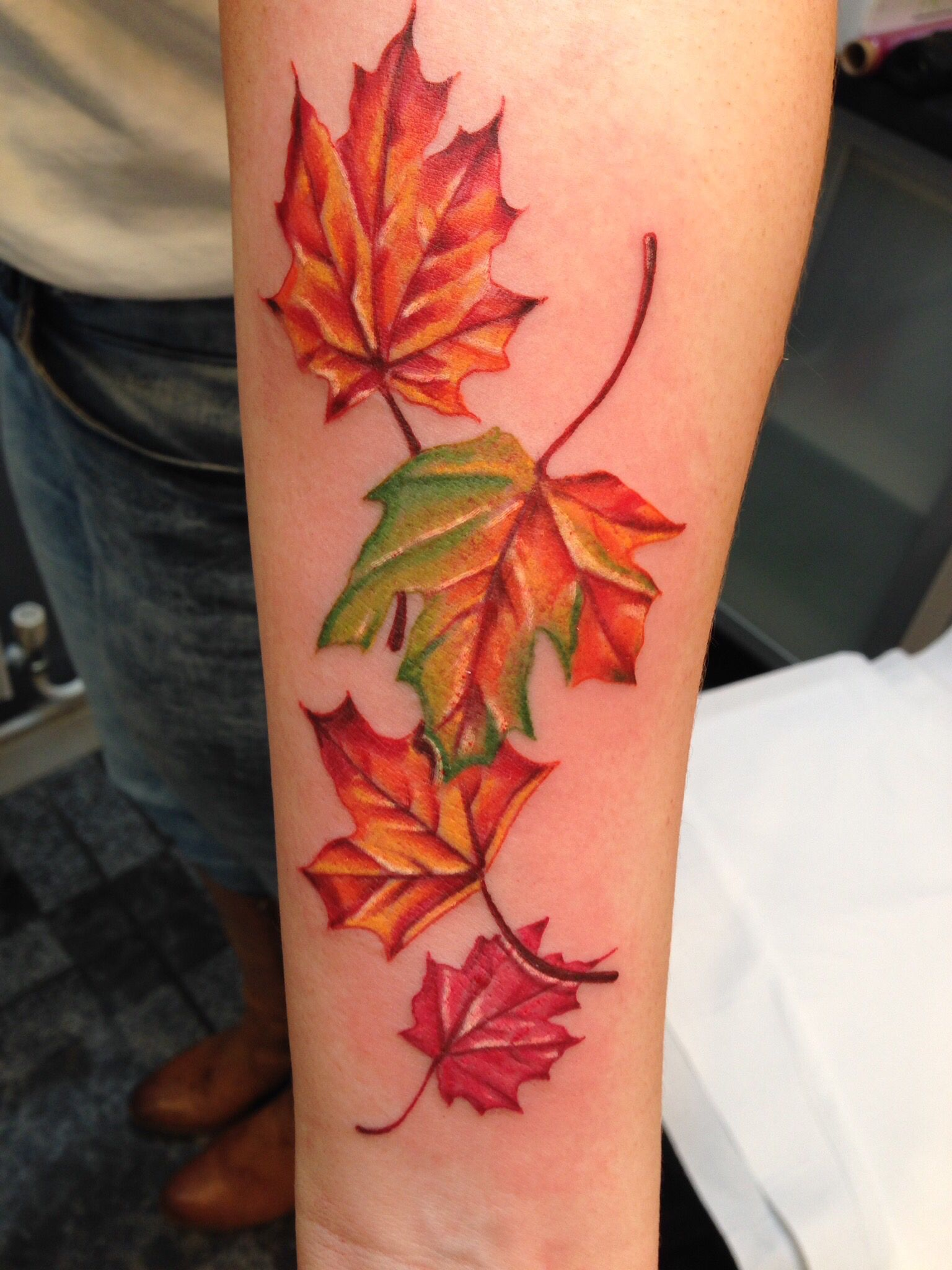 Autumn leaves tattoo by toby harris tattoo pinterest for Fall tree tattoo