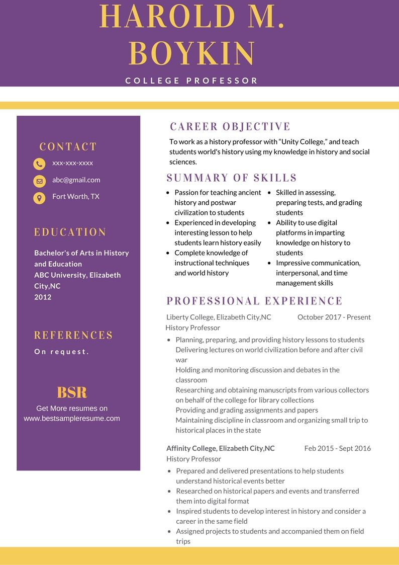Free Resume sample for College Professor. College