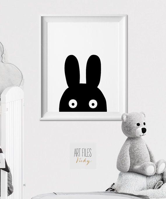 Bunny Wall art, Nursery animal print, Poster, Minimal, Black and ...