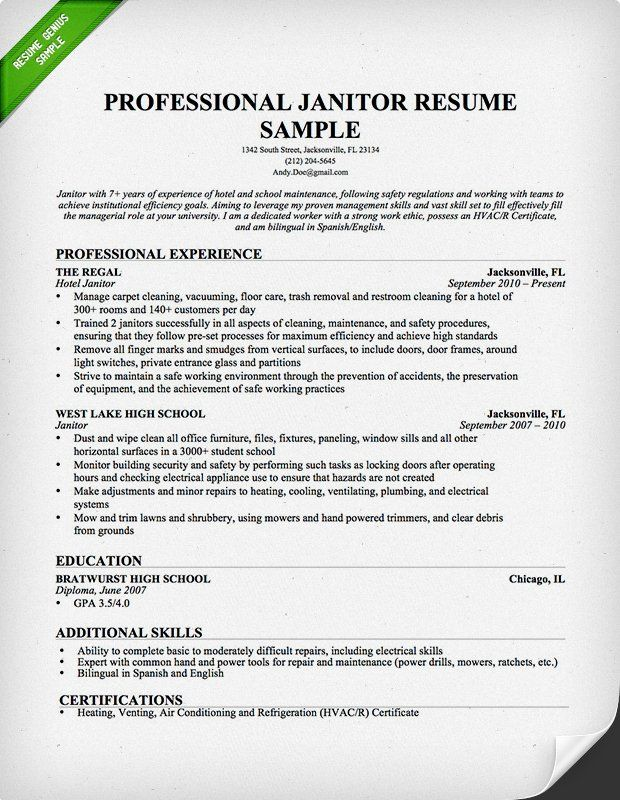 Janitor  Maintenance Resume Sample Places to Visit Professional