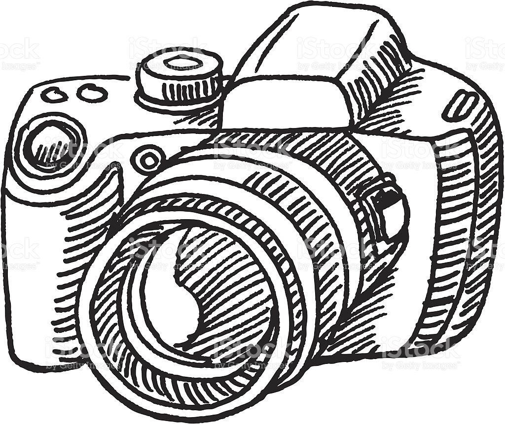 Camera hand drawn. Vector sketch of a