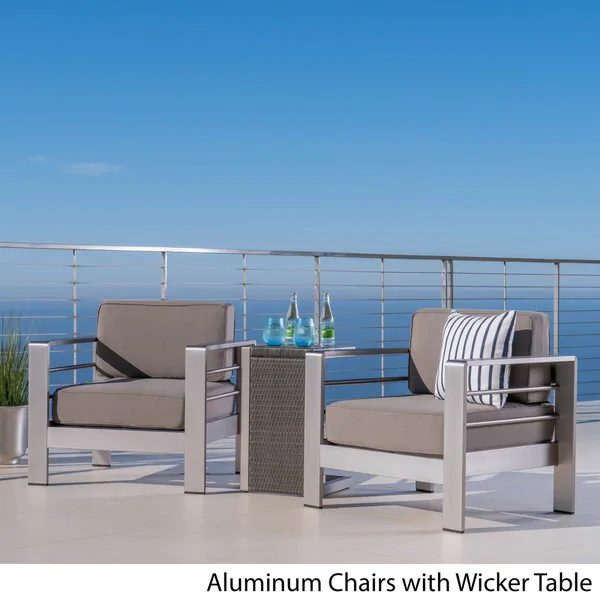 Cape Coral Outdoor 3 Piece Aluminum Seating Set With Optional Sunbralla Cushions By Christopher Knight Home Faux Wood Table Khaki Cushion Grey Patio Furniture Outdoor Furniture Sets Outdoor Wicker Table