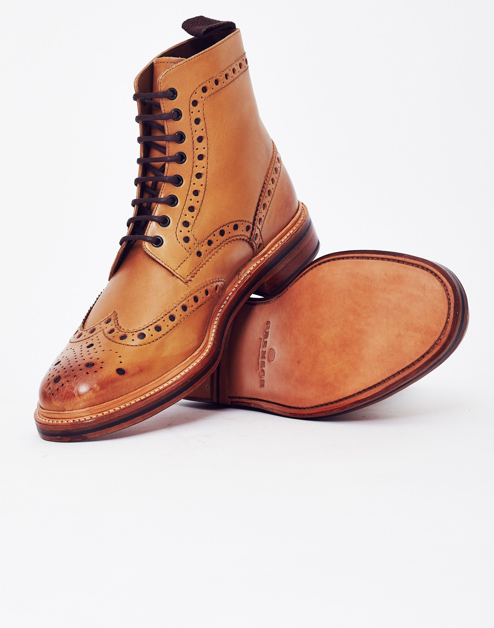 9eb8ad35d3b Grenson Fred Leather Brogue Boot Tan | Shoes | Dress with boots ...