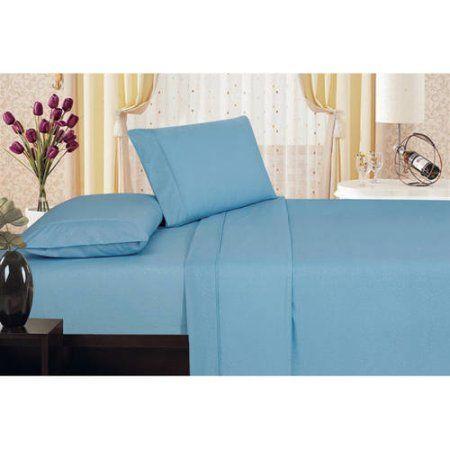 Plaza Home Soft 1800 Series Microfiber Embossed Vine Design Sheet Set, Blue