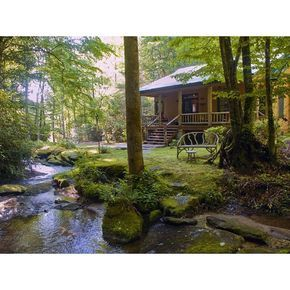Secluded Luxury 'Waterfall Cabin Blue Ridge Mountains ❤ liked on Polyvore featuring backgrounds and house