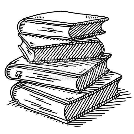 Hand Drawn Vector Drawing Of A Stack Of Four Books Black