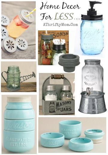 Mason Jar Home Decor Home Decor For The Kitchen Mason Jar Theme Love These Shabby Chic
