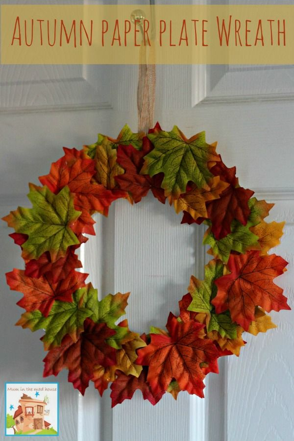 Autumn fall paper plate leaf wreath & Paper plate Autumn/Fall leaf wreaths | Autumn fall Wreaths and Leaves