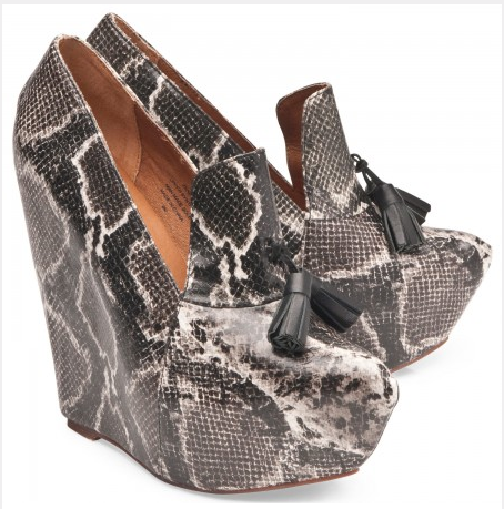 Jeffrey Campbell: Zealous in black and white snake.
