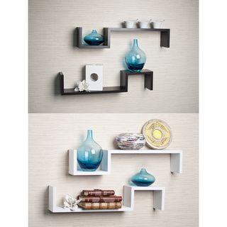 Laminated Espresso S Wall Mount Shelves Set Of