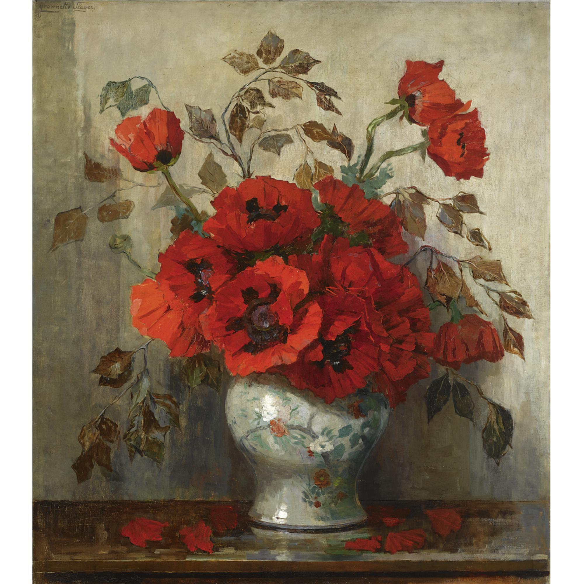 Slager Jean 19th Century European Paintings Poppies Flower Painting Painting