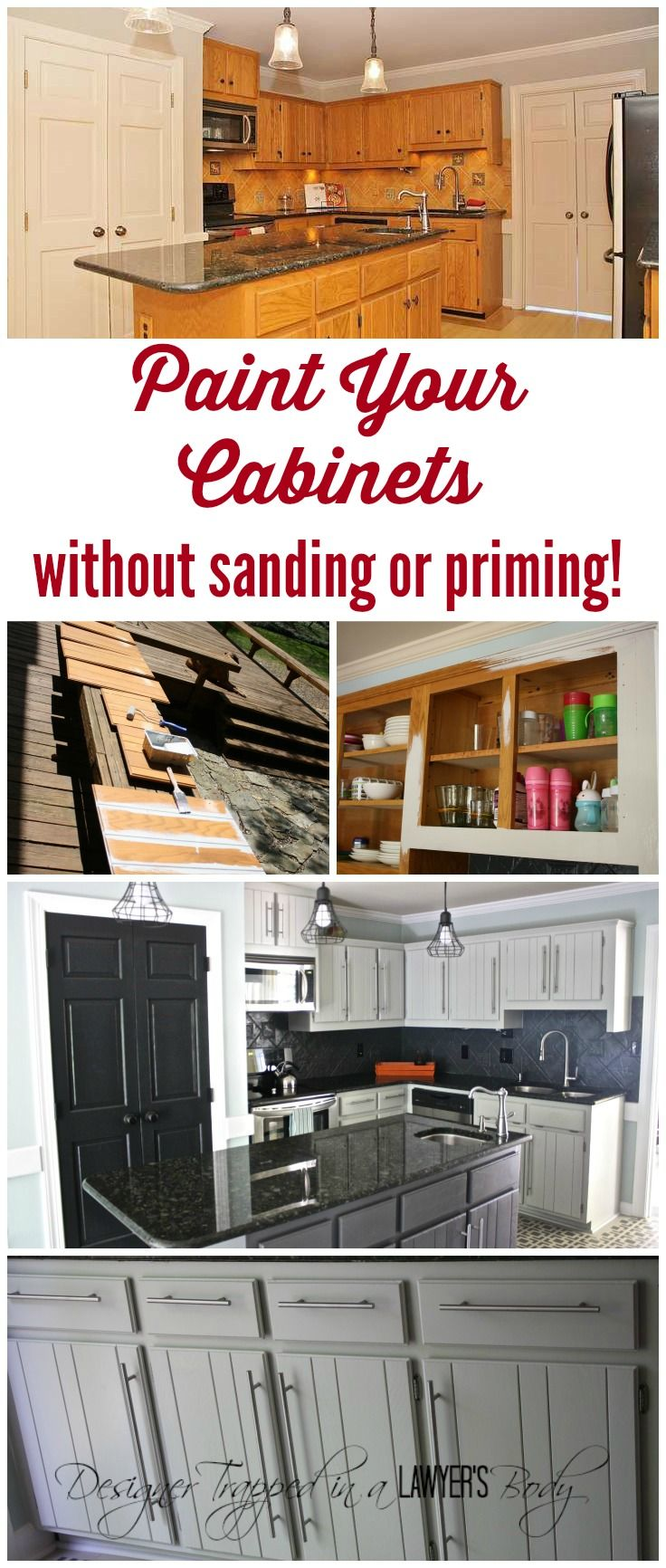 How To Paint Kitchen Cabinets Without Sanding Or Priming Step By Step Home Diy Home Remodeling Painting Kitchen Cabinets