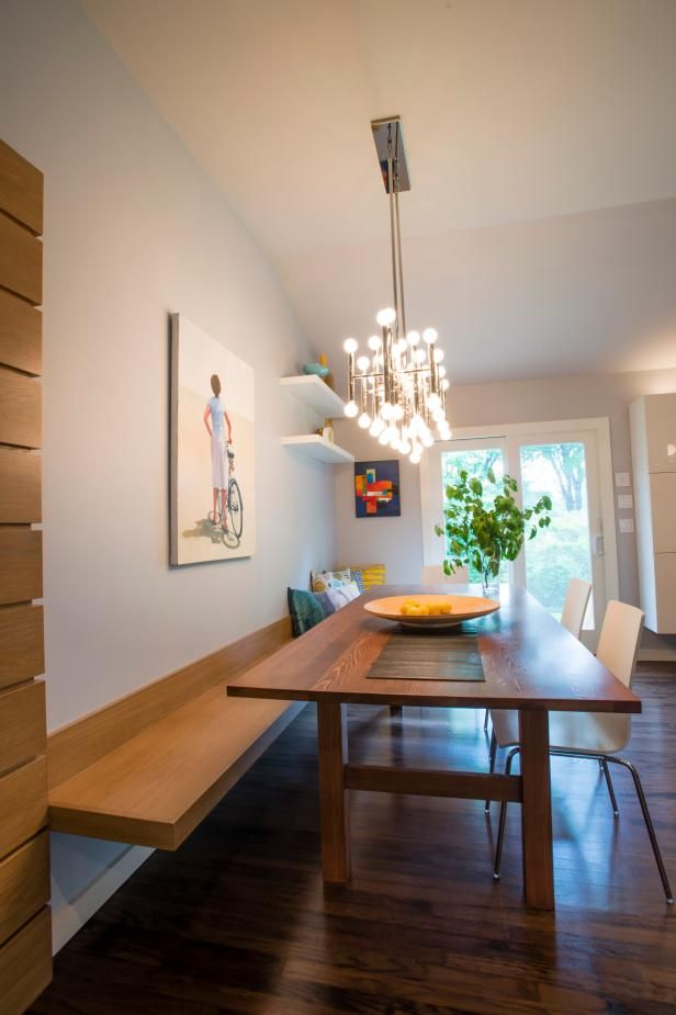 This Contemporary Dining Space Maximizes Available Space By Using Bench Seating And A Clean Or Dining Room Bench Dining Table With Bench Bench Seating Kitchen