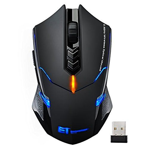 252efe9a788 VicTsing Wireless Gaming Mouse with Unique Silent Click, Breathing Backlit,  6 Programmable Buttons, 2400 DPI, Ergonomic Grips, 7 Buttons- Black