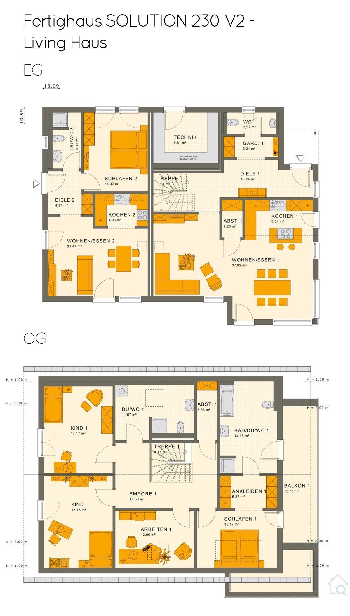 Grundriss Einfamilienhaus mit Einliegerwohnung im