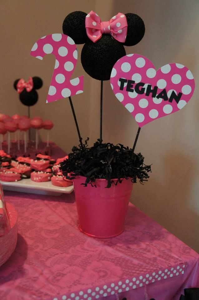 Minnie Mouse Party Center Pieces....change To Red White And Yellow Maybe