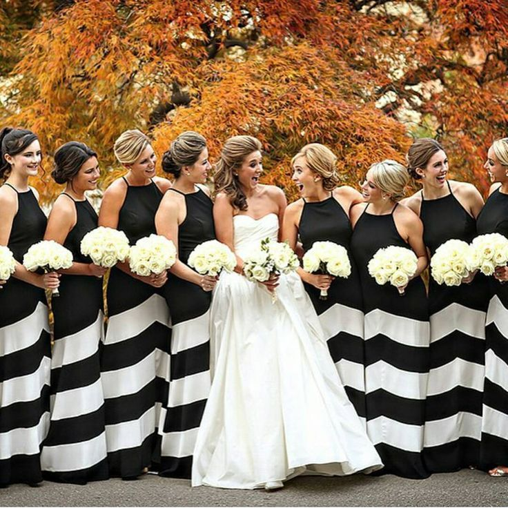 black white wedding inspiration striped bridesmaid dresses