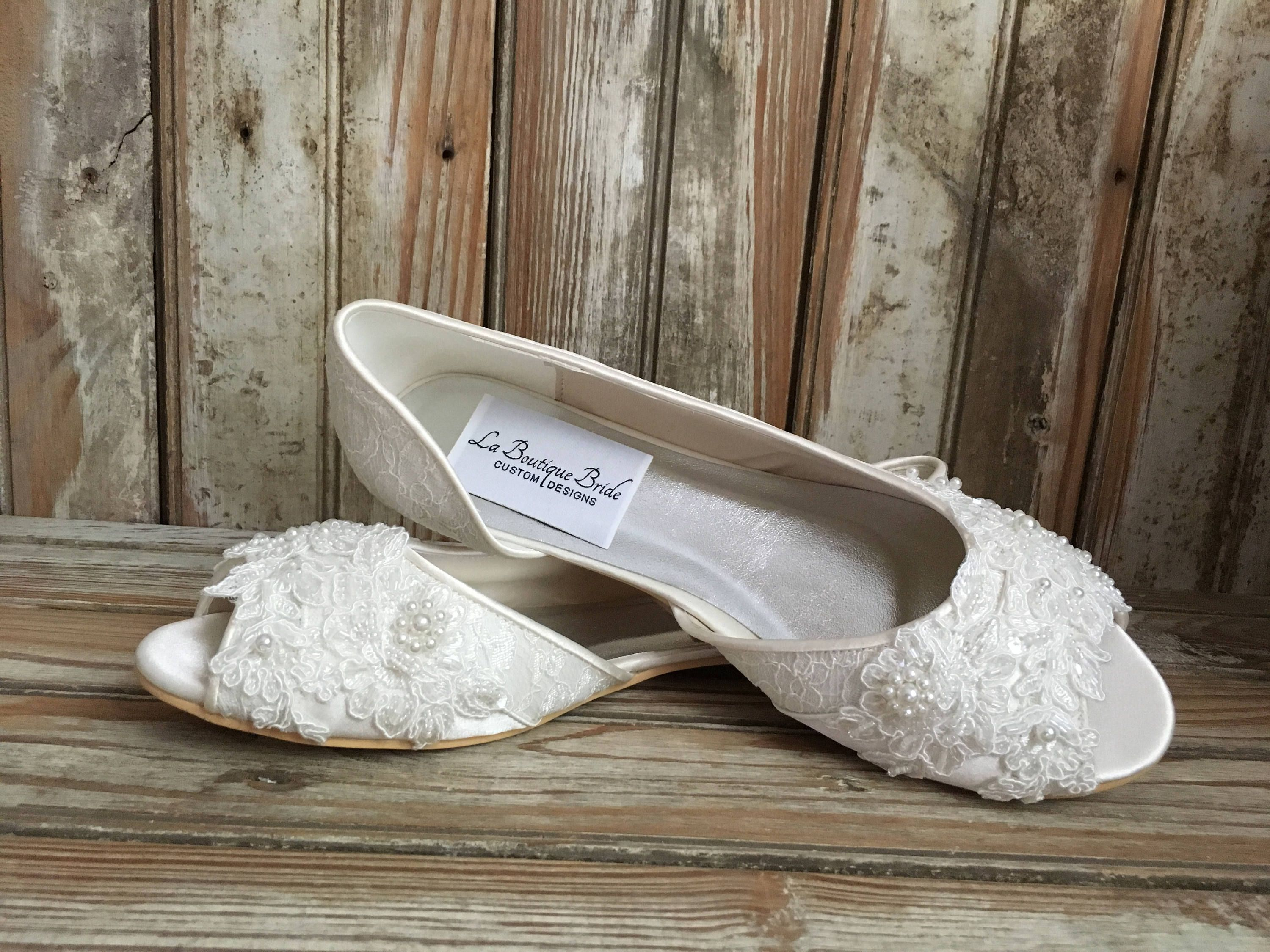 1e50e455aef2d Bridal Ballet Flat Shoe Open toe satin and lace covered flat with ...