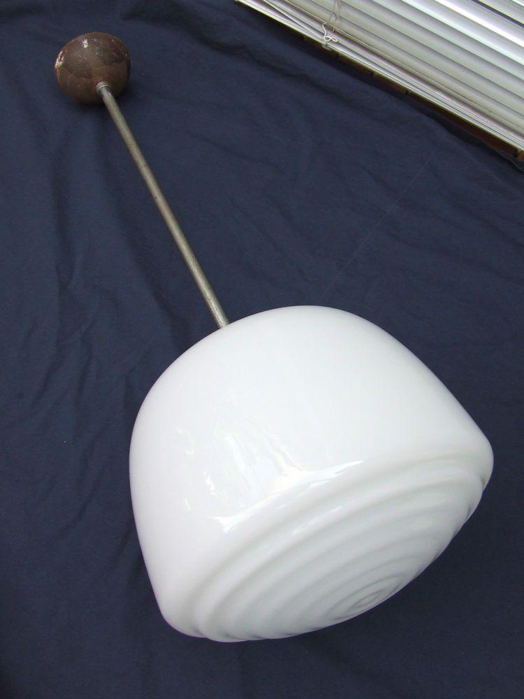 Simple Art Deco Deckenlampe Opalglas vernickelt Funktionalismus Bauhaus Lampe Leuchte