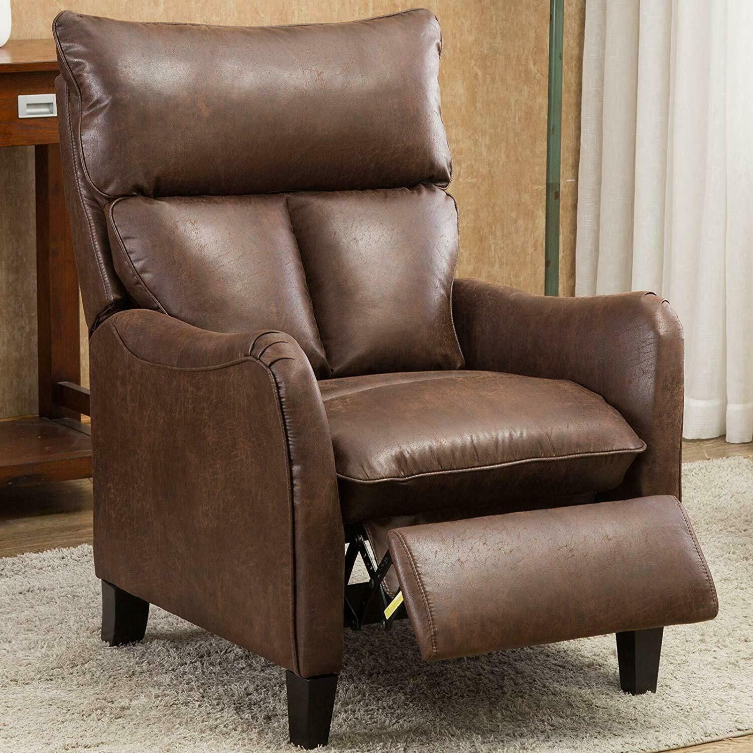 Accent Recliner Chair Roll Arm Push Back Armchair Lounge