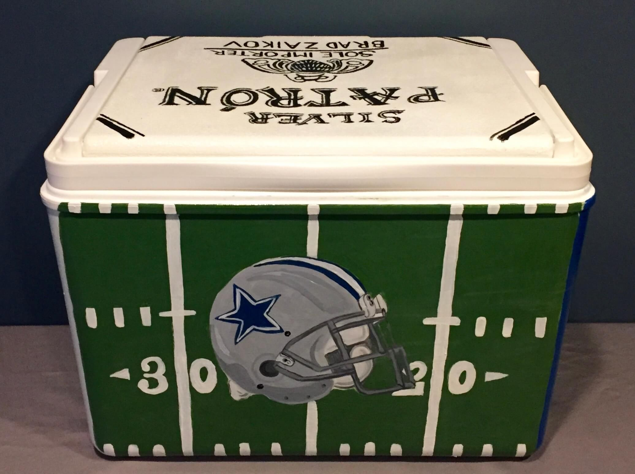 Check out this custom painted frat cooler dallas cowboys