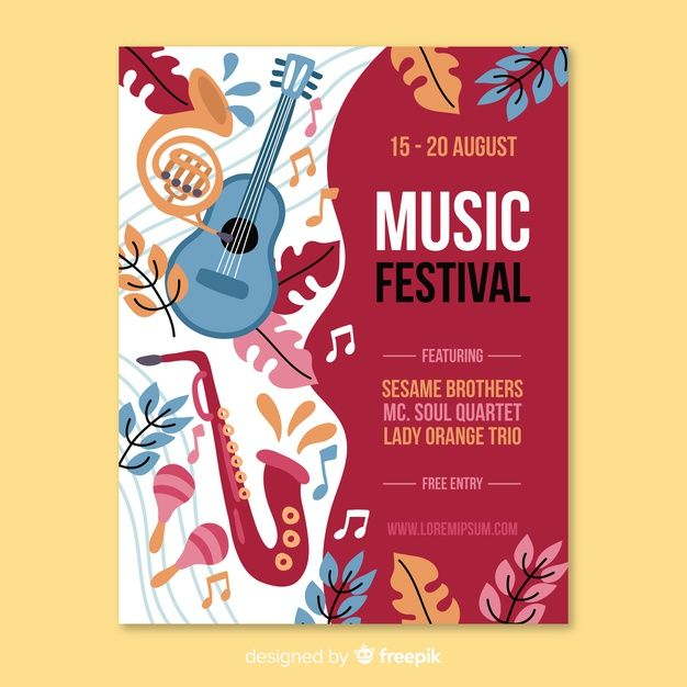Download Hand Drawn Music Festival Poster For Free Di 2020 Desain Grafis Desain Poster Brosur