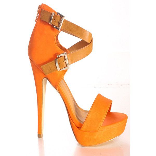 orange faux leather textured look open toe style back zipper double ...