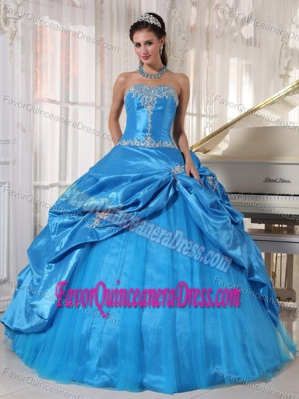 08b899bd444 Blue Ball Gown Taffeta and Tulle Sweet 15 Dresses with Appliques and Pickups