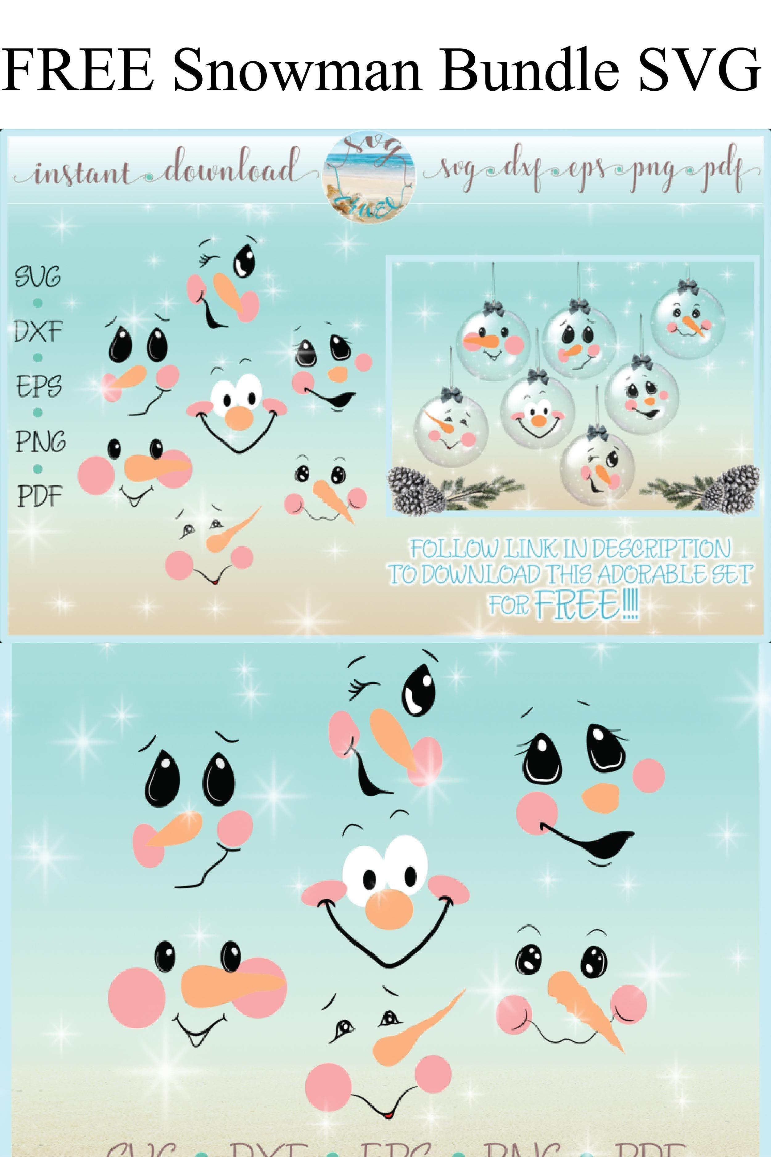 Free snowman Face Bundle svg Snowman faces, Cricut