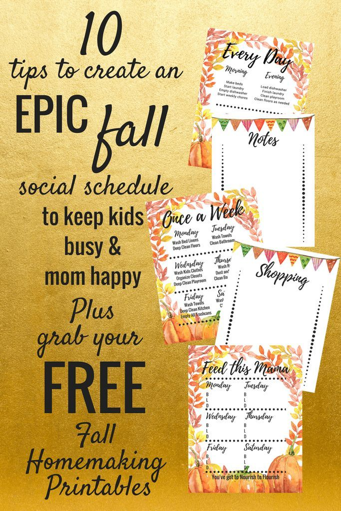 Fall Activities for kids - Create a social calendar and grab our