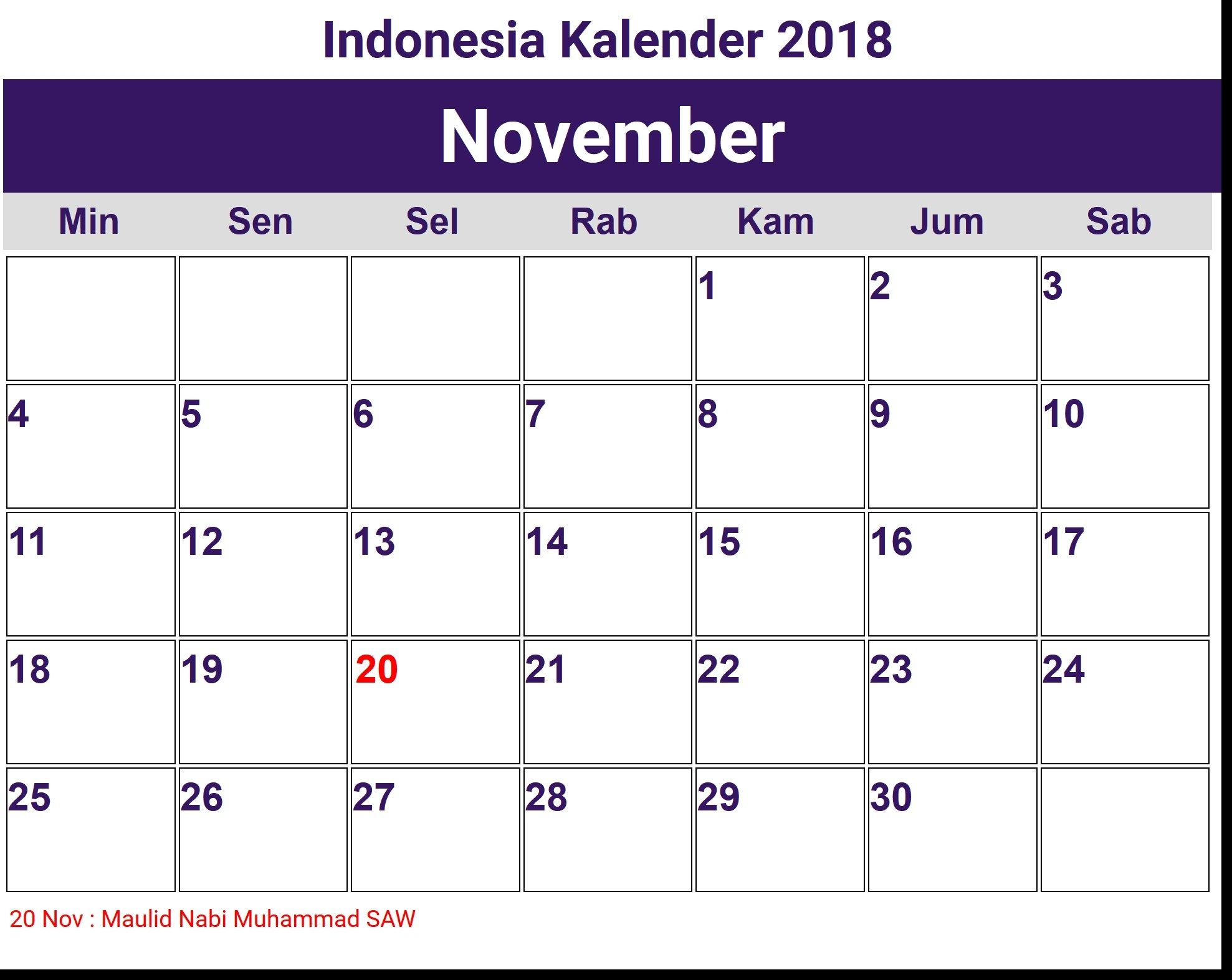 kalender 2018 november mit word dokument