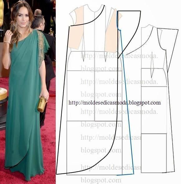 Выкройка платья на одно плечо | Diseños de vestido | Pinterest ...