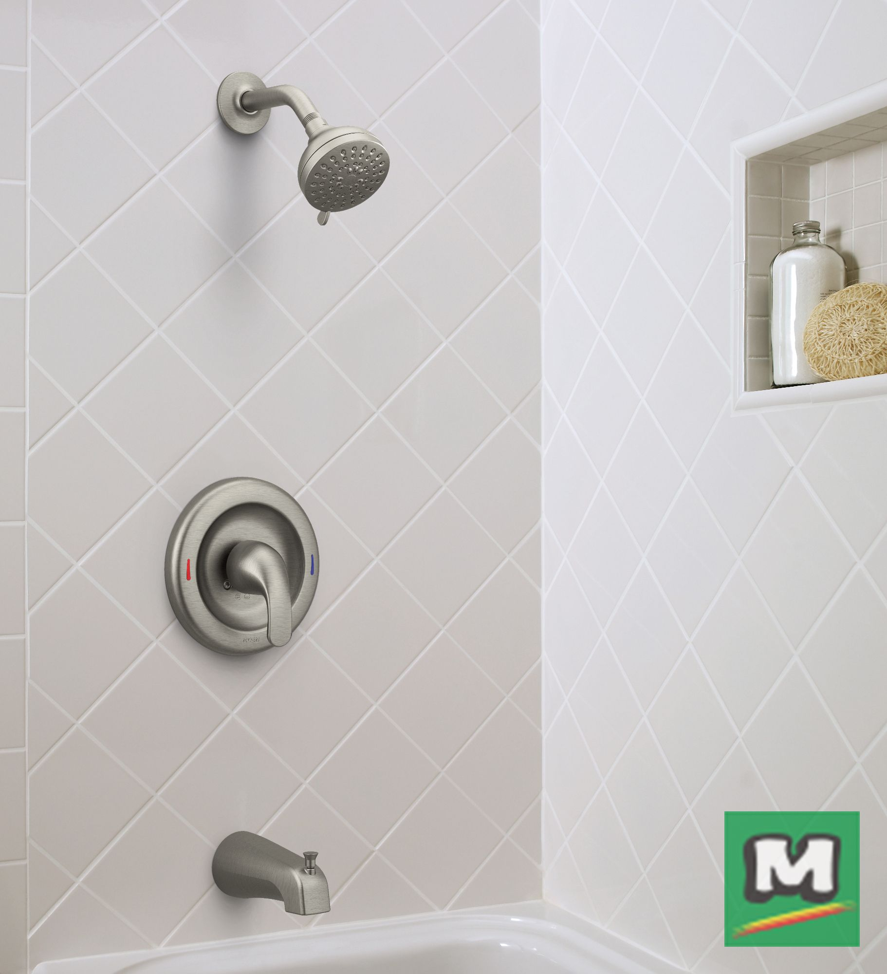 This Moen® Adler Posi-Temp® One-Handle Tub/Shower Faucet is a fine ...