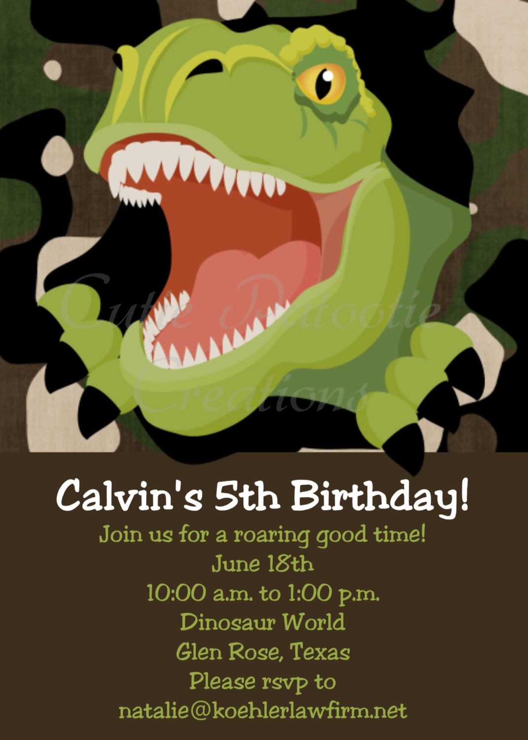 T Rex Dinosaur Birthday Invitation TRex Tyrannosaurus Party Invite Printable 1500 Via Etsy