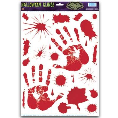 Bloody Handprint Clings Party Supplies Canada - Open A Party - halloween window clings