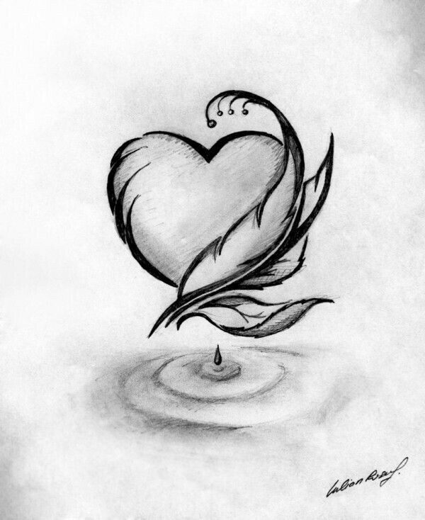 Heart And Feather In 2019 Cool Pencil Drawings Romantic