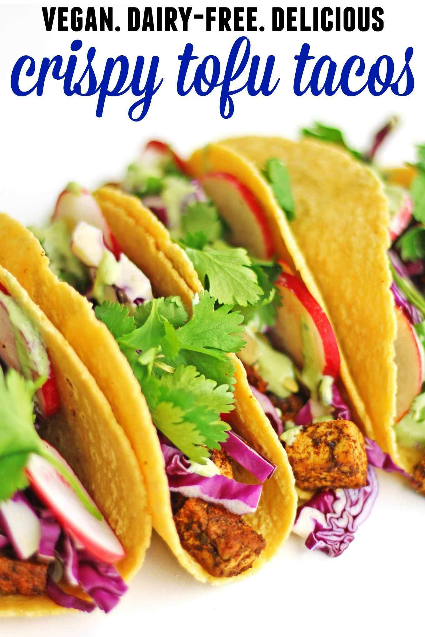 Crispy Vegan Tofu Tacos With Spicy Cilantro Sauce Rhubarbarians Recipe Tofu Recipes Tofu Tacos Tofu Recipes Vegan