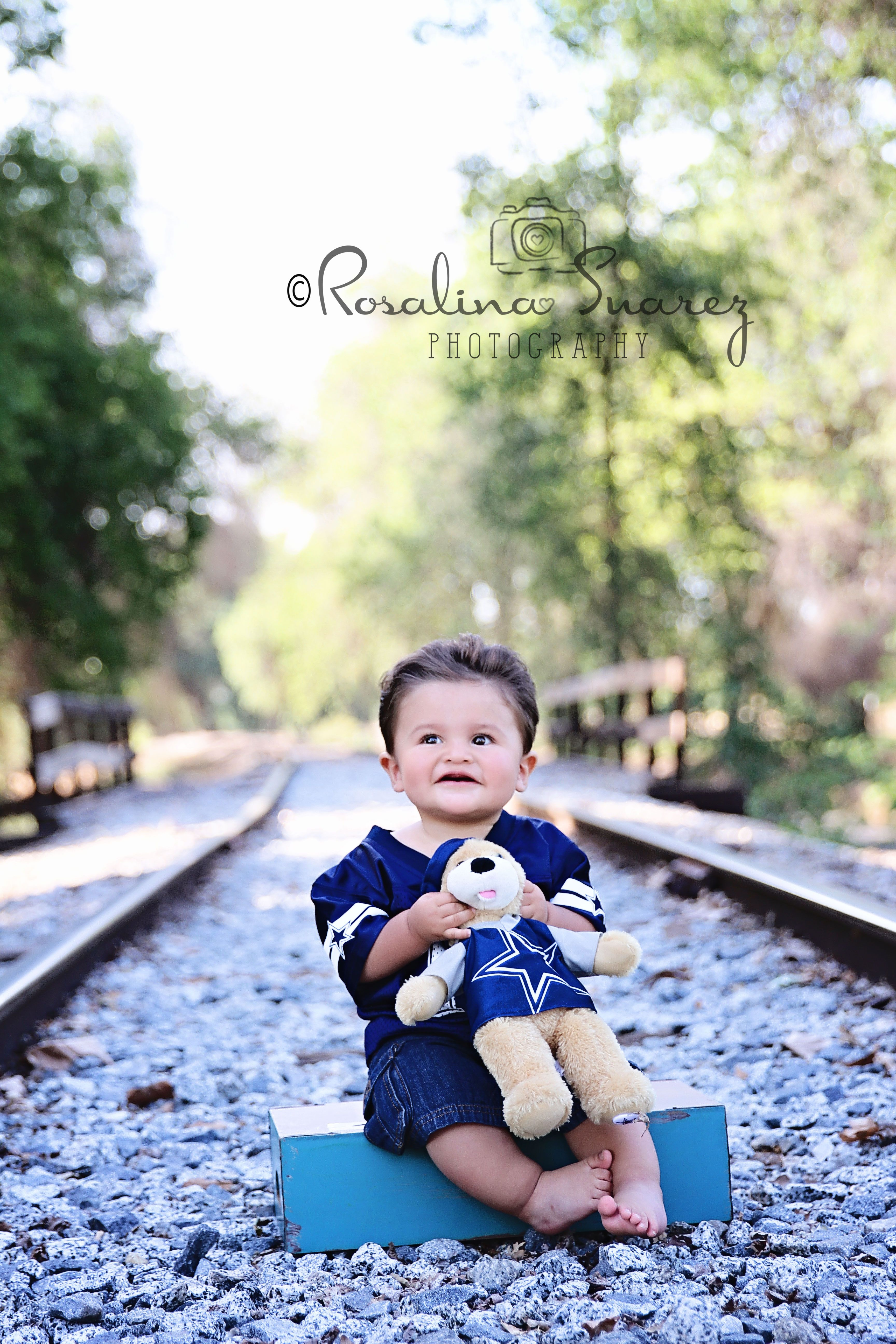 first birthday invitation for my son%0A first birthday boy  Dallas Cowboys themed  one year old photography pose   rail road