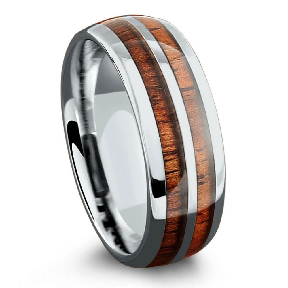 The Silver Wood Barrel Ring (8mm Width) in 2020 Wooden