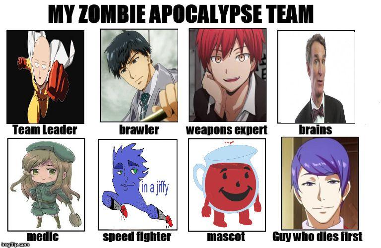 My Zombie Apocalypse Team Meme Generator Imgflip Zombie Apocalypse Team Zombie Apocalypse Apocalypse