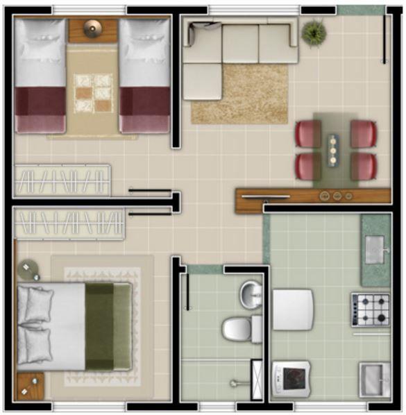 Conhecido casa-pequena-de-dos-recamaras | Apartamentos pequeños.poco espacio  UR25