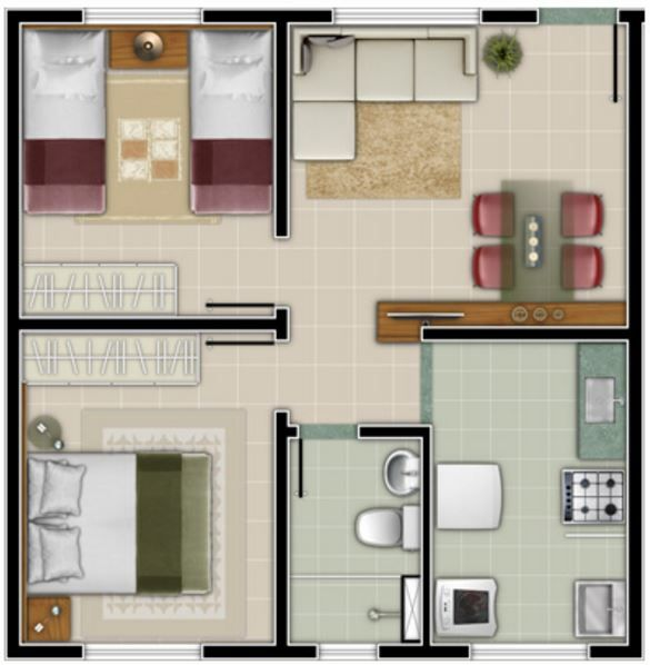Casa pequena de dos recamaras apartamentos peque for Cuarto 4x4 metros